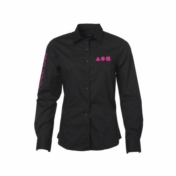 Camicia Pandemonio nera logo pink