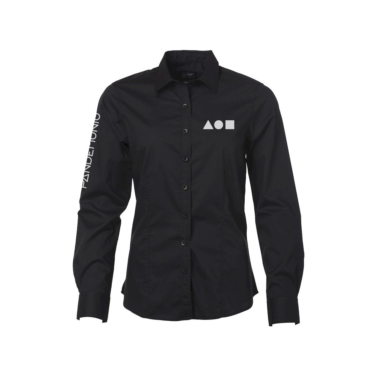 Camicia Pandemonio nera logo bianco