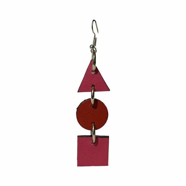 Orecchino rosa e rosso in Pelle