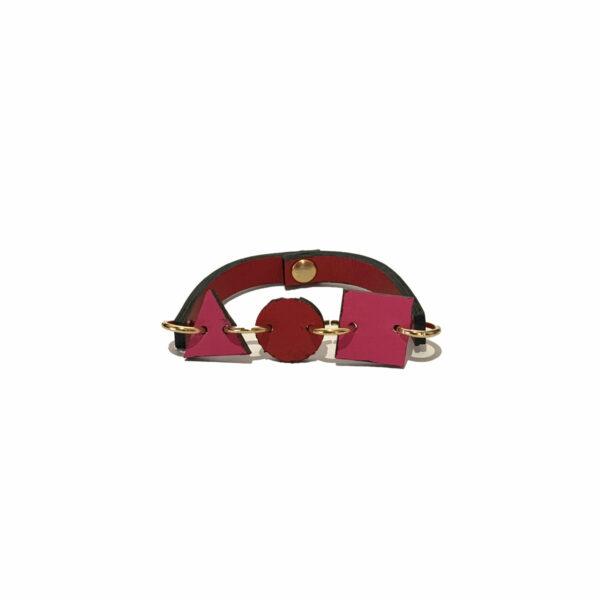 Bracciale Rosso e Rosa in Pelle