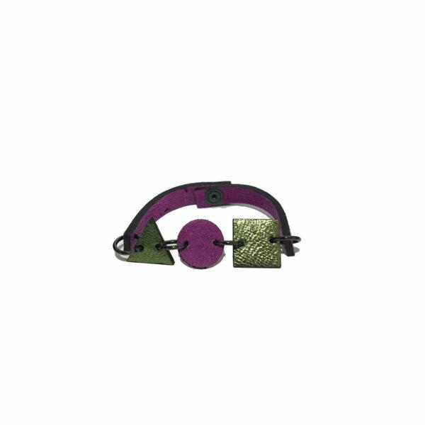 Bracciale Verde e Viola in Camoscio