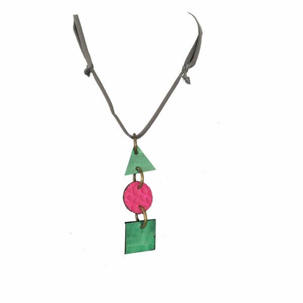 Collana Verde e Rosa in Pelle